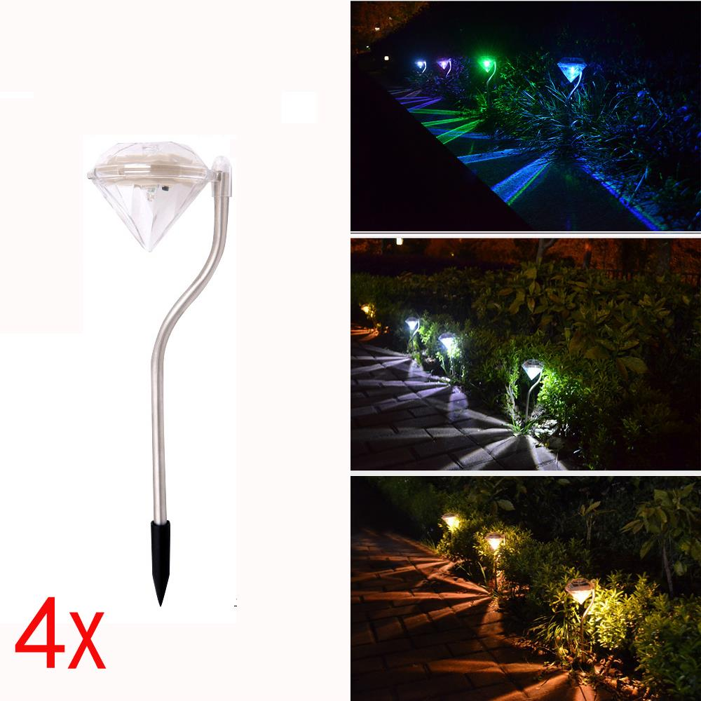 4x led solar lampe steck leuchte outdoor farbwechsler for Lampe terrasse led