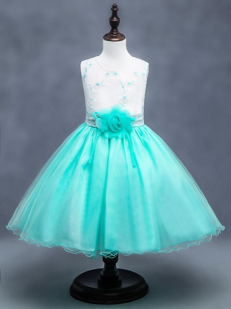 Fest kleid Kinder Prinzessin Kostüm Tüll Kleid Blumen Mädchen Party ...
