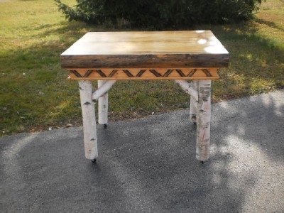 Birch bark pine slab kitchen table adirondeck rustic made in the usa 323002 ebay - Birch kitchen table ...