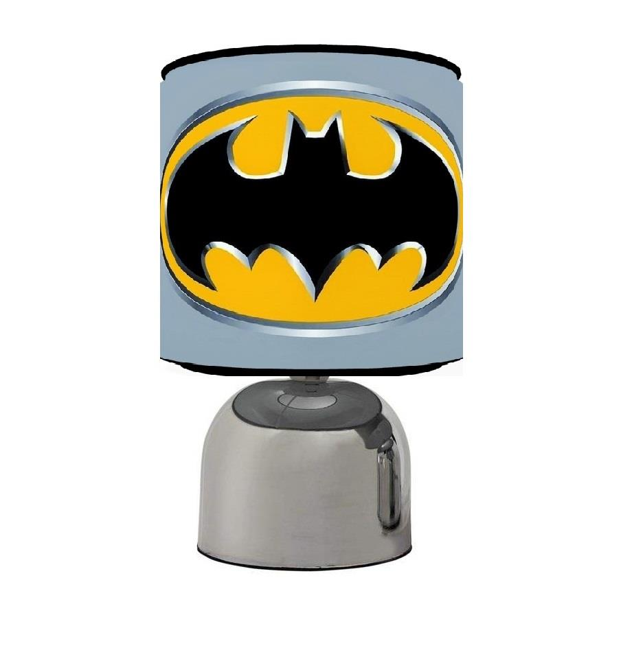 Batman logos touch table bedside lamp black grey kids room - Black touch lamps bedside ...
