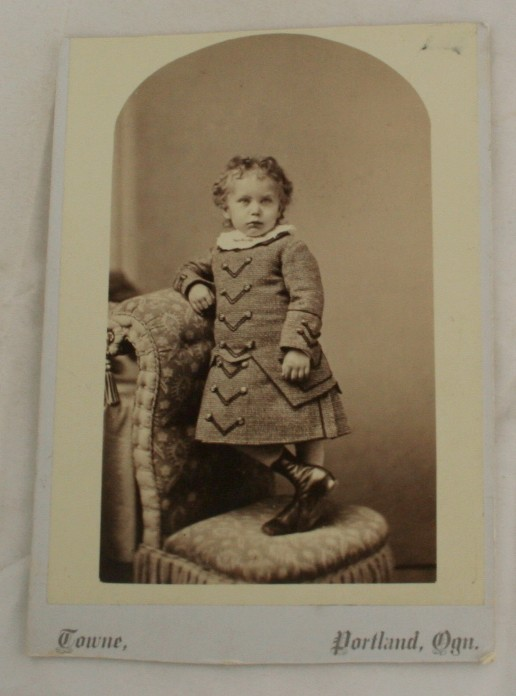 antique photograph, cabinet photo, Portland OR, Child, Long Coat