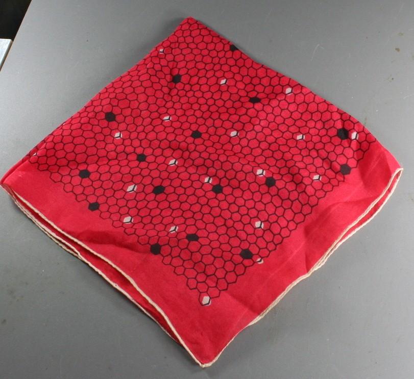 silk scarf, vintage, red, honeycomb print