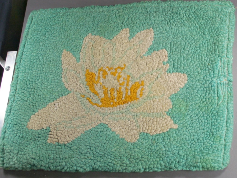 vintage hooked rug, seat cover, floral, hand hooked