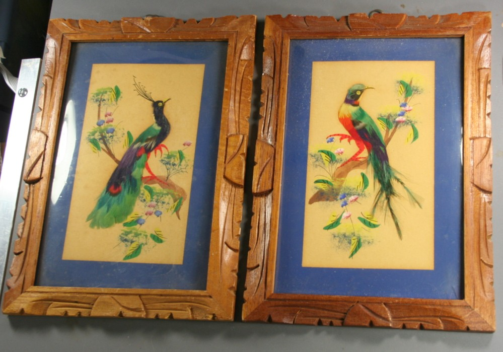 Mexico, feather pictures, hand carved frame