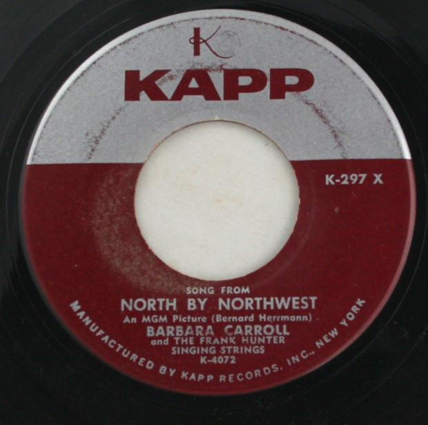 vintage 45 record, Barbara Carroll, North by Northwest, Kapp Records