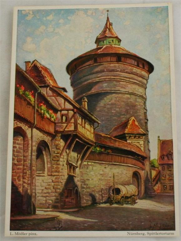 vintage postcard, Germany, L. Mobler, Nurnberg, Bavaria, Spittlertorturm