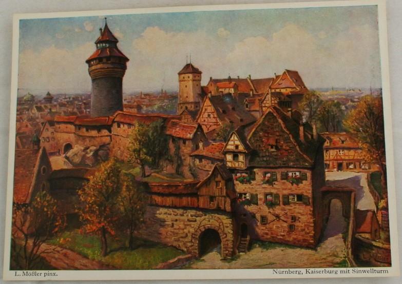 vintage postcard, Germany, L. Mobler, Nurnberg, Bavaria, Kaiserburg mit Sinwellturm
