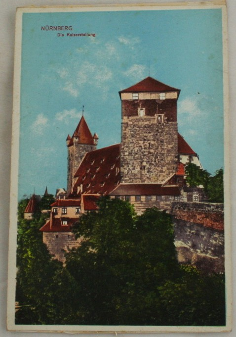 vintage postcard, Germany, lithograph, Kaiserstallung, Nurnberg, Bavaria