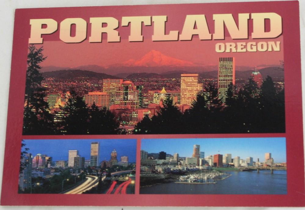 vintage postcard, Portland, Oregon, skyline, panorama