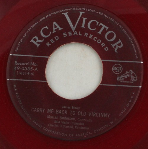 vintage record, Marian Anderson, My Old Kentucky Home, Carry Me Back to Old Virginny, 45, vinyl