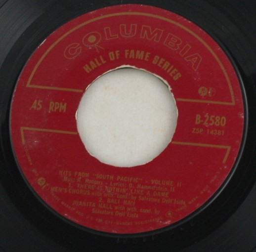 vintage record, Hits from South Pacific, Columbia, 45, vinyl