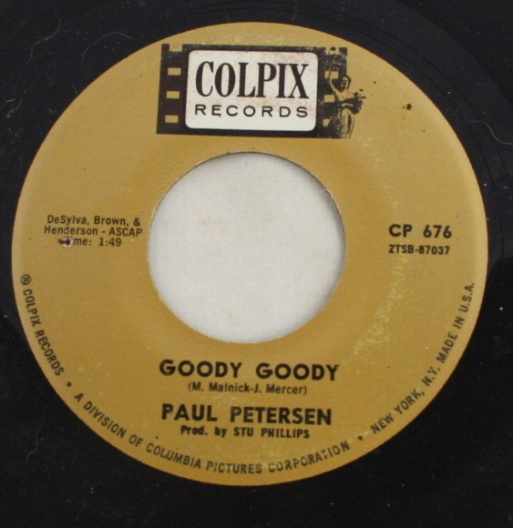 vintage record, Paul Peterson, Goody Goody, Amy, Colpix, 45, vinyl