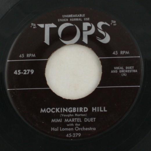 vintage record, vinyl, 45, Mimi Martel, Mockingbird Hill, Aba Daba Honeymoon, Tops Records