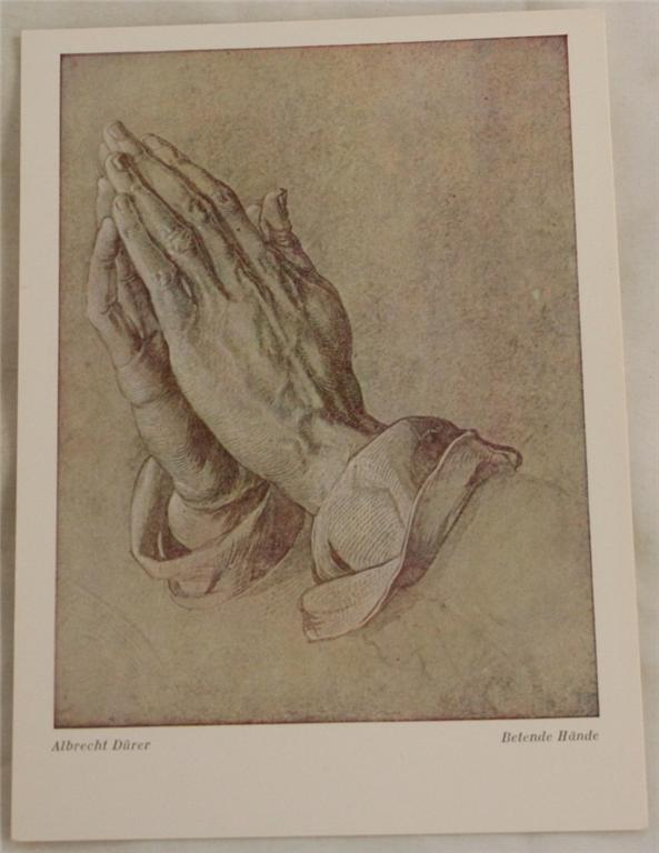 vintage postcard, art, Albrecht Durer, Praying Hands