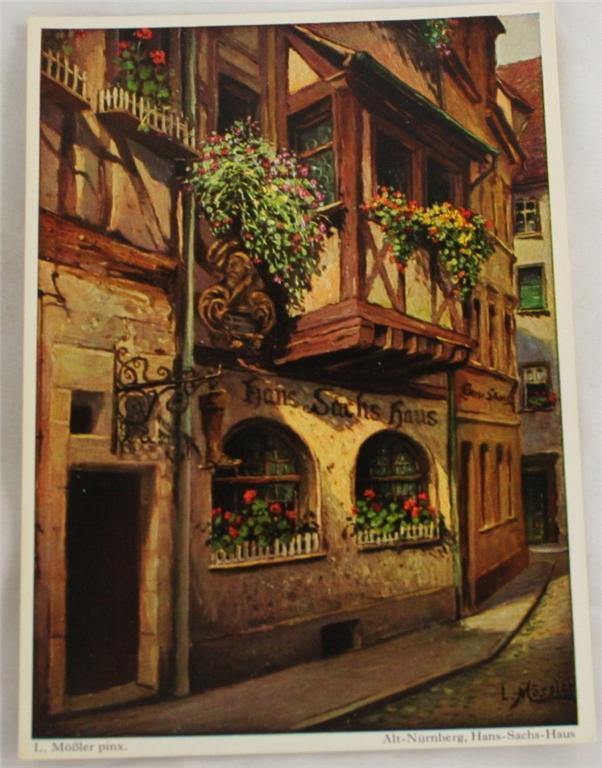 vintage postcard, Bavaria, Germany, Nurnberg, Hans Sachs House