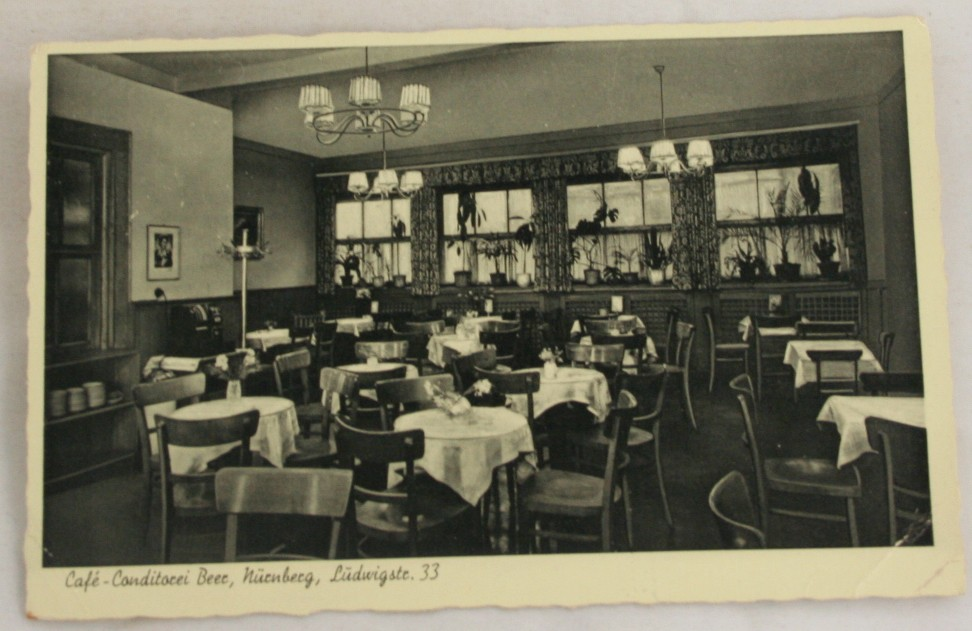 vintage postcard, Germany, Nurnberg, Konditorei Cafe Beer