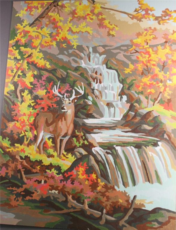 vintage paint by number, completed, deer by stream, forest