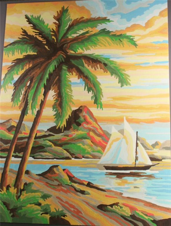 vintage paint by number, completed, tropical bay, sailing boat