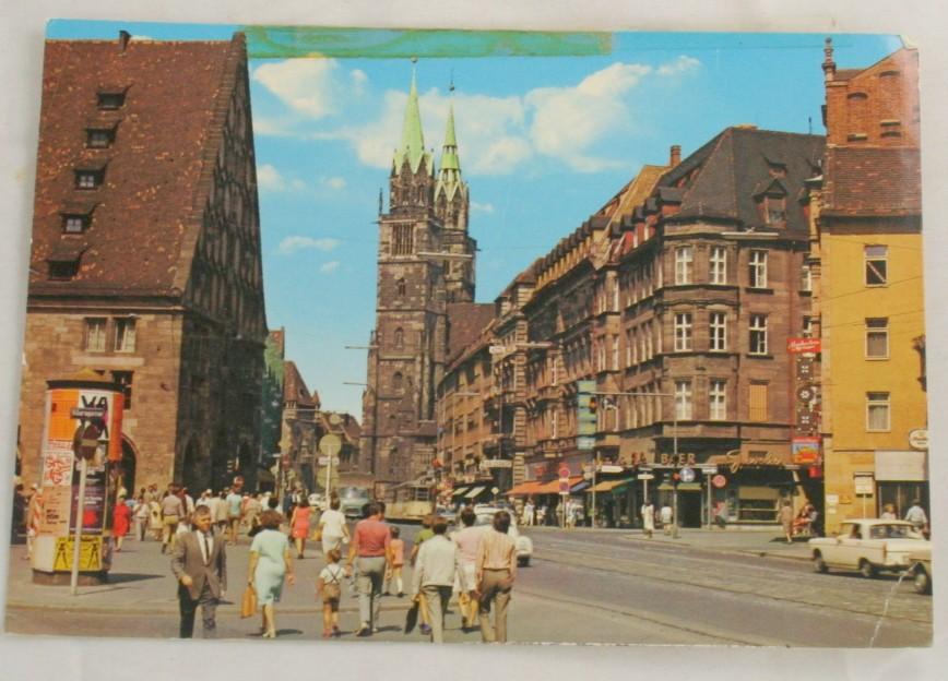 vintage postcard, Nurnberg,Koningstrasse, St Lorenz church