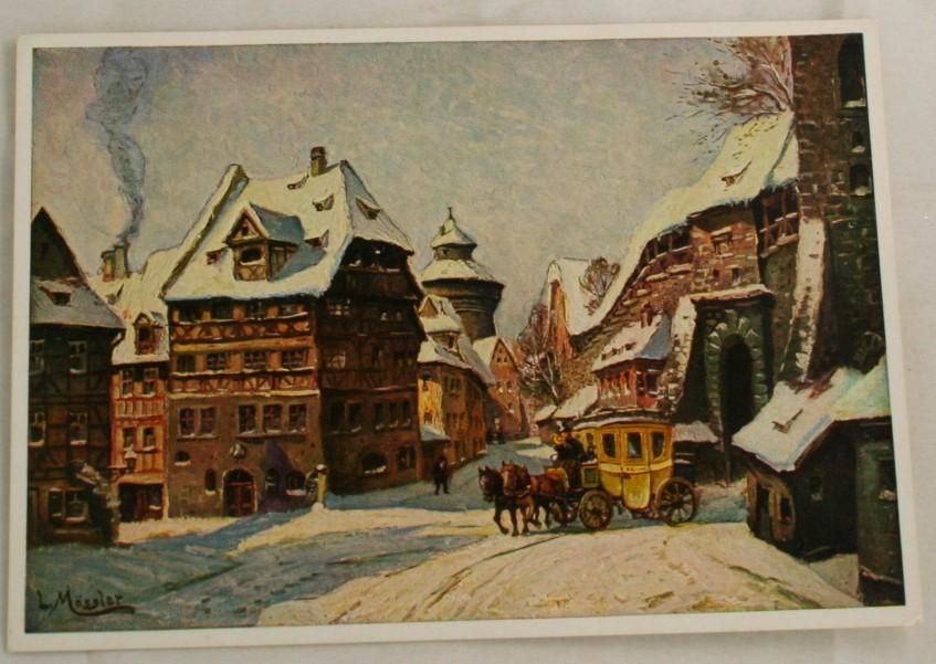vintage postcard, Nurnberg, Winter Morning, L. Mossler