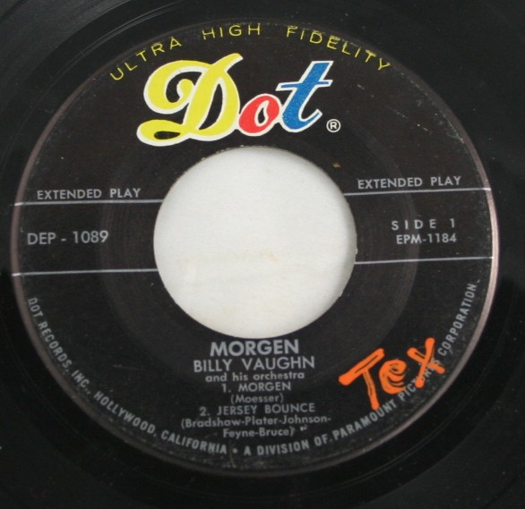 vintage record, vinyl, 45, Billy Vaughn, Morgen, Jersey Bounce,Under the Double Eagle,Left Out, Dot