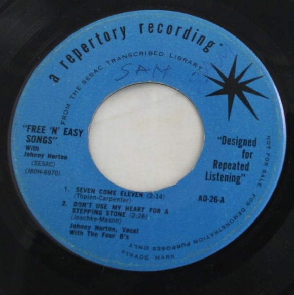 vintage 45, vinyl, record, Johnny Horton,I Can't Forget You, Teched in the Head, Seven Come Eleven,Don't Use My Heart For a Stepping Stone, Repertory Recording