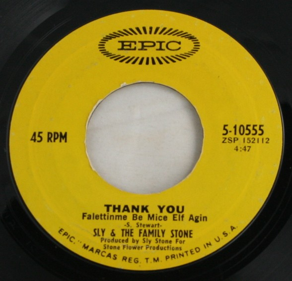 vintage record, vinyl, 45, Sly & The Family Stone, Thank You, Everybody is a Star, Epic