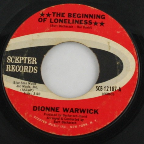 vintage record, vinyl, 45, Dionne Warwick,The Beginning of Loneliness,Alfie,Scepter