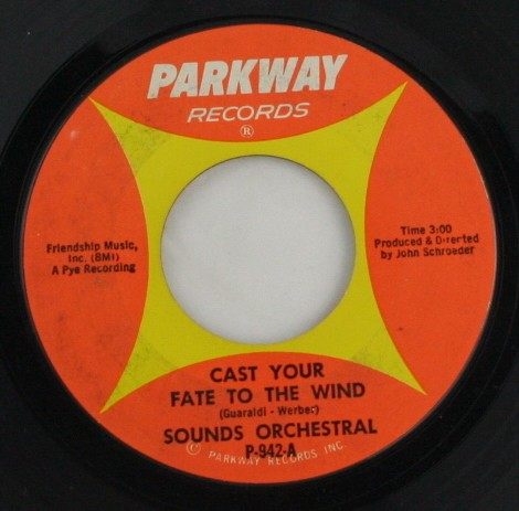 vintage record, vinyl, 45, Sounds Orchestral,Cast Your Fate to the Wind,To Wendy with Love, Parkway