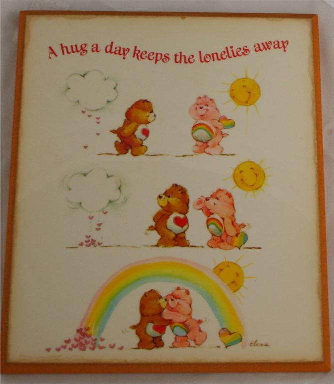 vintage wooden plaque, Care Bears, lonelies, 1982