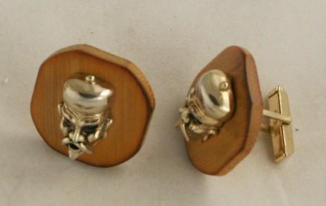 vintage jewelry, men's, cufflink, cufflinks, cuff links, Swank, china, man, wood
