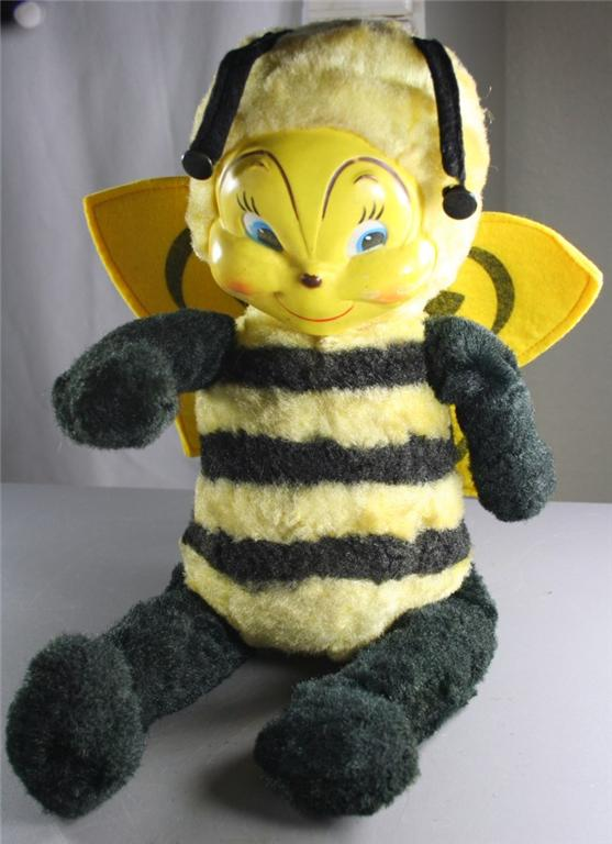 vintage doll, plush, poseable, bee, vinyl face