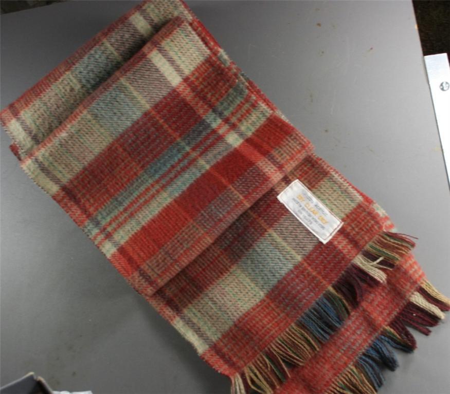 vintage scarf, acetate, wool look, British Hong Kong,plaid