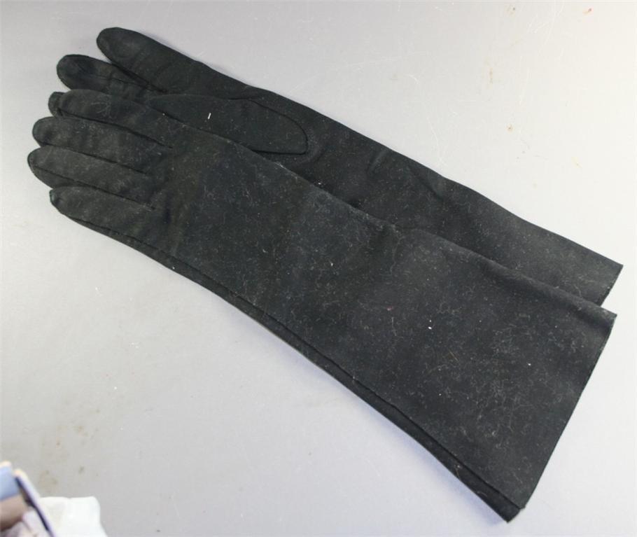 vintage gloves, black,doeskin,cotton, scarf