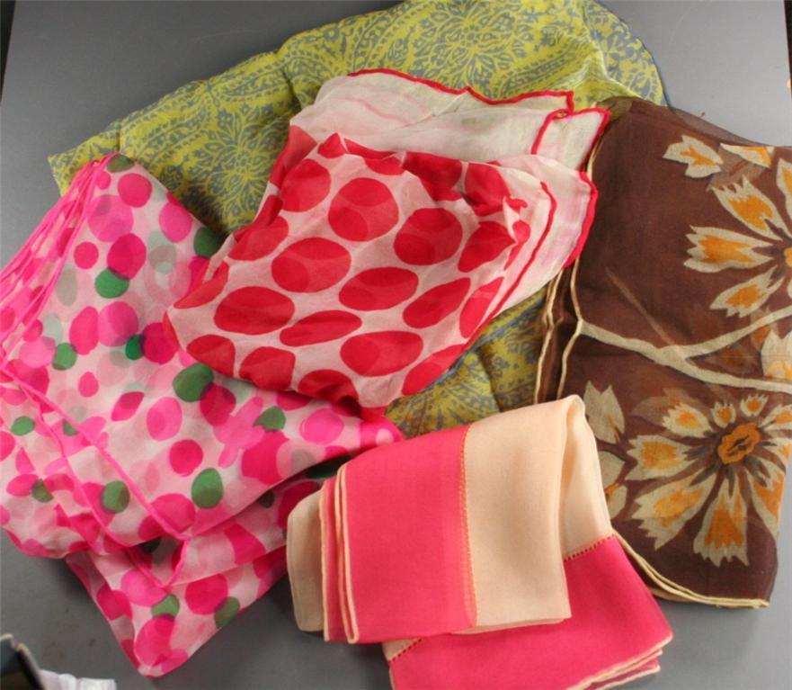 vintage scarf, nylon, print, sheer