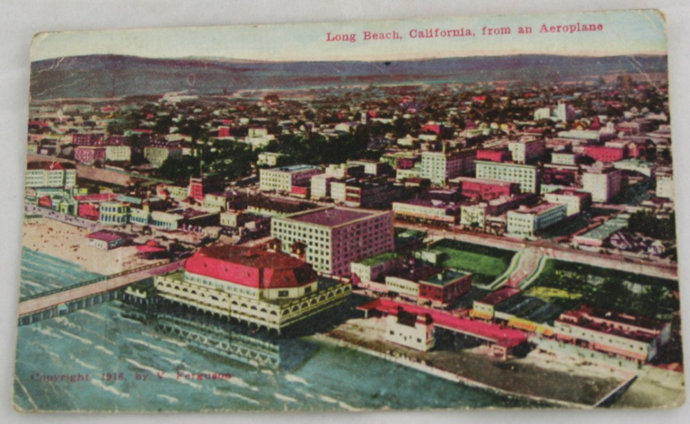 vintage postcard,hand colored,hand coloured,California,Long Beach,panorama, aeroplane