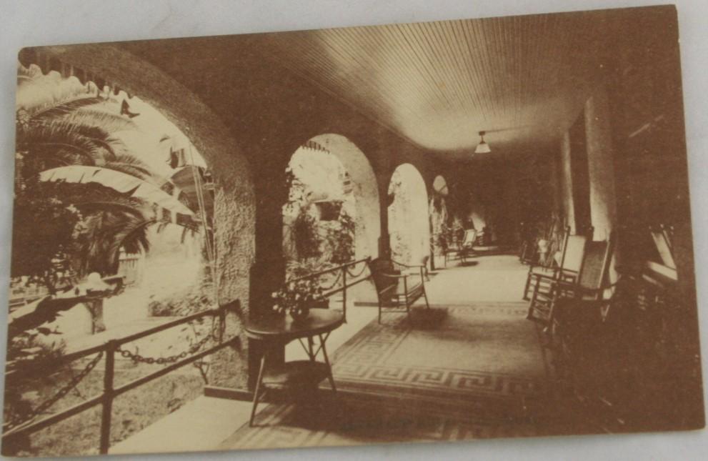 vintage postcard,sepia tone,California,Los Angeles, Alvarado Hotel,piazza