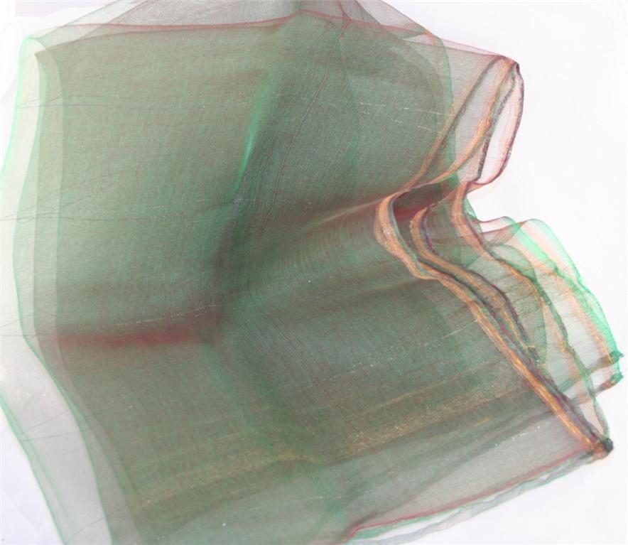 vintage scarf,sheer, nylon, sheen, green, red