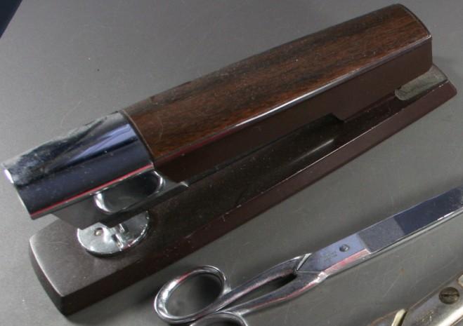 vintage stapler, Swingline 333, wood, chrome