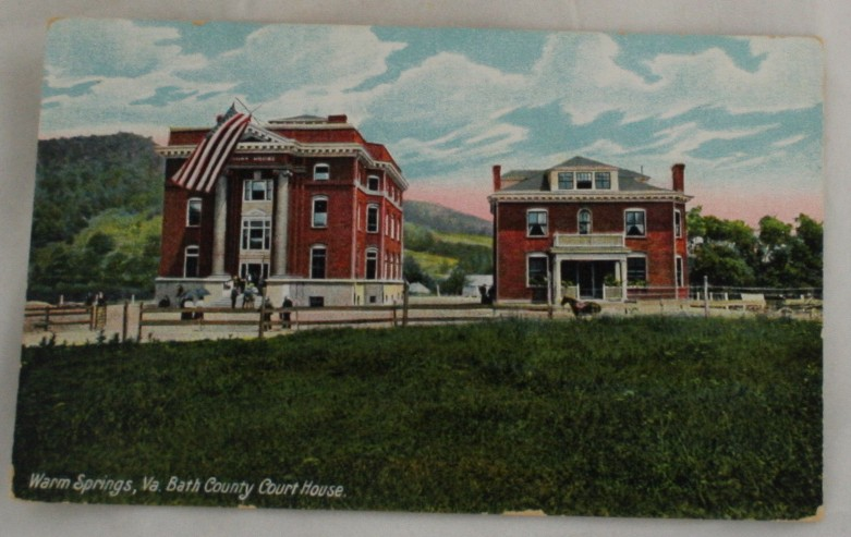 vintage postcard, Warm Springs, Virginia, VA, Hand colored, hand coloured