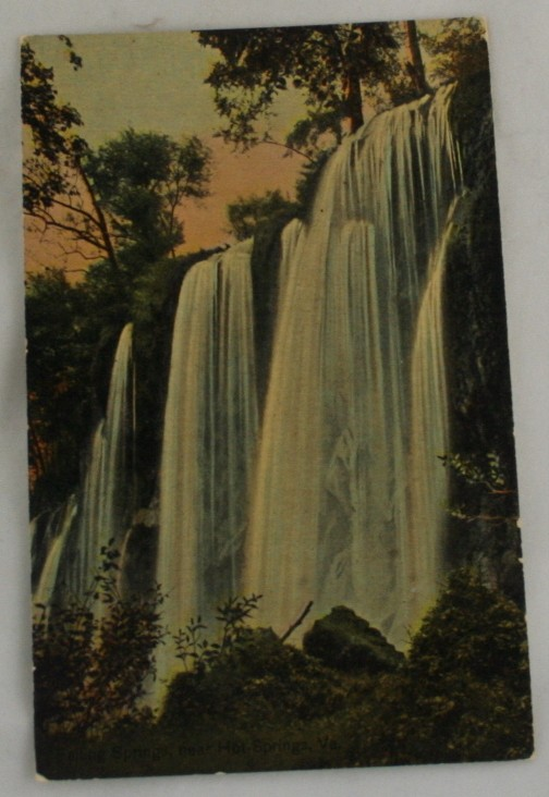 vintage postcard, waterfall, Hand colored, hand coloured