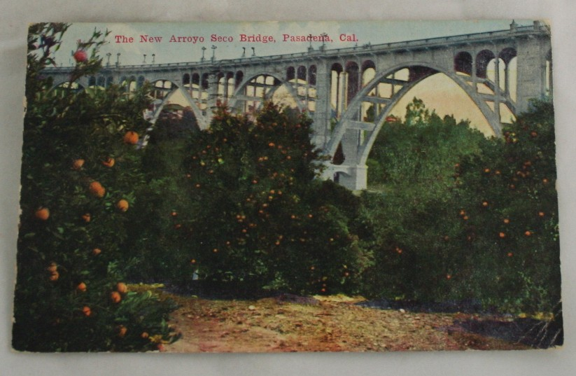 vintage postcard,Pasadena, California, CA, Arroyo Seco Bridge, Hand colored, hand coloured