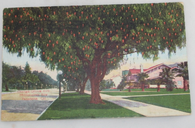 vintage postcard,Pasadena, California, CA, Millionaires Row, Orange Grove Ave, Hand colored, hand coloured