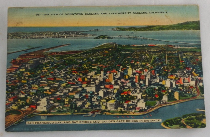 vintage postcard,Oakland, California, CA, panorama, Lake Merritt, San Francisco Oakland Bay Bridge, Golden Gate Bridge, Downtown Oakland, lithograph