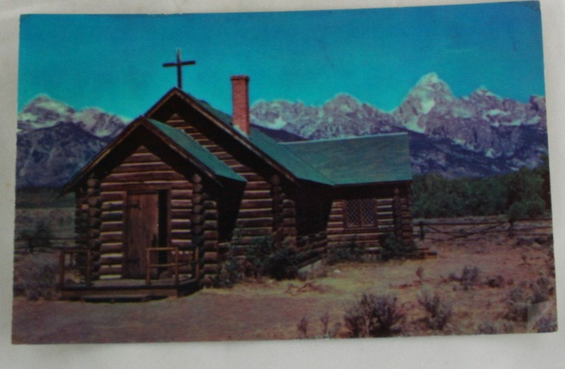 vintage postcard, Grand Teton National Monument, Chapel of the Transfiguration, Montana, MT