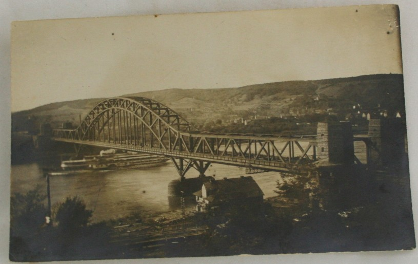 vintage postcard, real photo, RPPC, bridge, black, white, black and white
