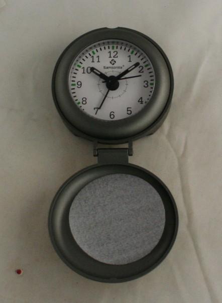 Samsonite, travel alarm, quartz, battery operated