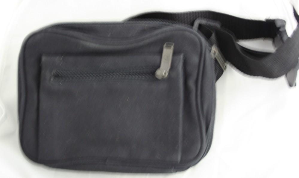 Men's accessory, waist pouch, travel pack, 2 zipper, belt pack, fabric