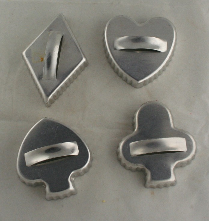 vintage aluminum, cookie cutters, card suits,diamond,club,heart,spade