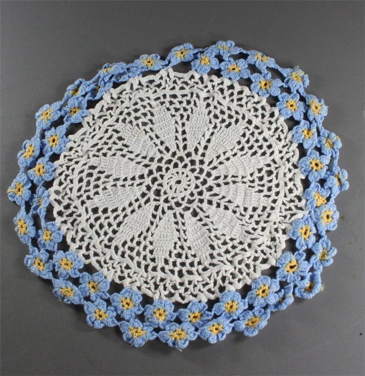 vintage doily,crochet,blue coneflowers,medallion